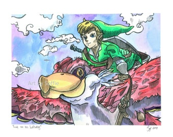 Link on his Loftwing Original Pen and Ink Drawing
