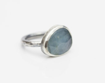Aquamarine and Sterling Ring, Rose Cut Aquamarine Ring, Pale Blue Stone, March Birthstone, Size 5