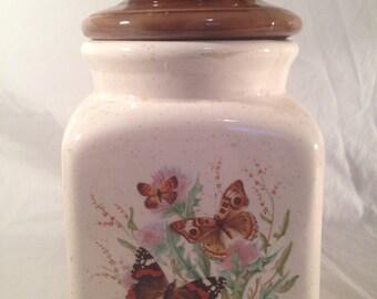 Vintage brown butterfly cookie jar