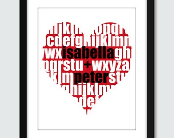 Love Heart Alphabet with Personalized Names Wall Art. Anniversary, Wedding, Engagement Wall Print. 8x10 ABC Custom Wall Print Poster