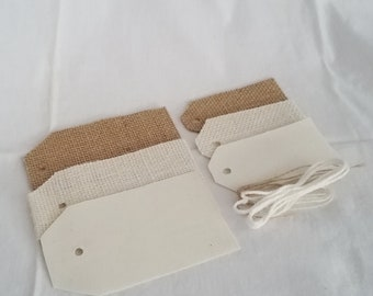 Burlap and Muslin Tags Assorted DIY Set - Mixed Media, Blank Tags, Wedding Tags, Party Favor