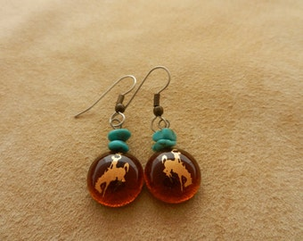 Amber with Turquoise Cowboy Dangle Earrings