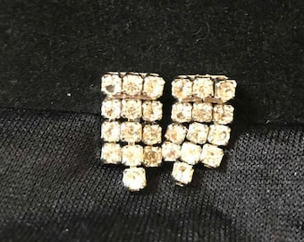 Vintage Rhinestone Earrings, Screw Back
