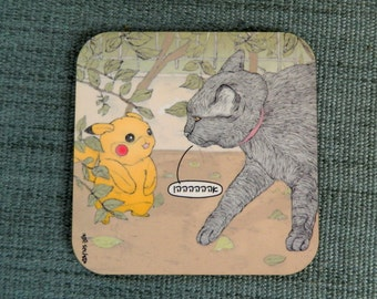 Cats coaster - pokemon in Hebrew -  featuring Rafi, the famous Israeli cat from Ha'aretz Newspaper Comics