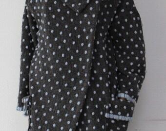 Oversized coat / Asymmetrical coat / Wool coat / Polka dot coat / Oversized coat woman / Wool coat women / Black coat / Women coats