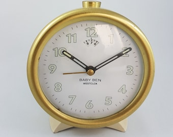 Vintage Baby Ben Wind Up Alarm Clock, Cream and Gold, Mad Men, MCM
