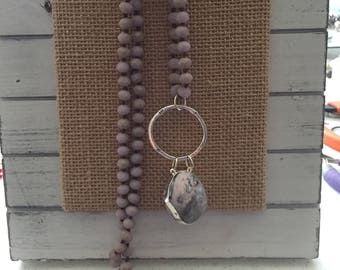 Pink Agate Long Necklace