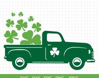 Saint Patricks Day Vintage Truck Svg Shamrock Patrick Clover SVG CriCut Files Silhouette Cameo