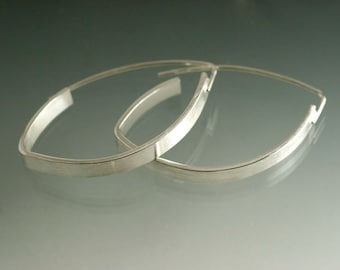 Sterling Silver Elliptical Hoop Earrings, Simple hoop Earrings, Wide Silver Hoop Earrings, Everyday silver Earrings