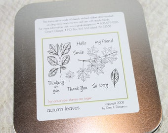 DESTASH - Used Gina K Stamp Set - Autumn Leaves
