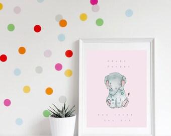 Elephant Nursery Quote, Grey Baby Elephant Print, Nursery Quote Print, Elephant Nursery Decor, Nursery Art, Elephant Baby Gift, Never Forget