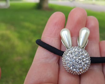 Silver Rabbit Ties, Scranchi, Hair accessories, Ready to ship