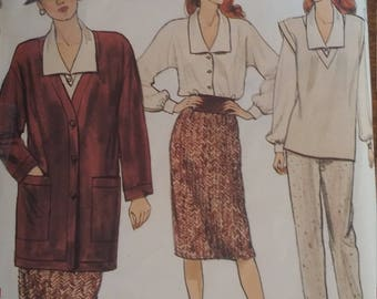 Vogue 8870, size 12, unlined jacket, vest, blouse, skirt and pants, sewing pattern, misses, womens, separates