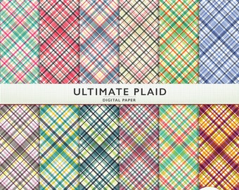 Digital Paper - Ultimate Plaid - Scrapbooking Instant Download Cardstock G7512