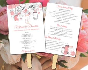 Wedding Fan Program DIY Wedding Program Mason Jar Program Printable Program Wedding Fan Template DIY Ceremony Program - Fan Program Template