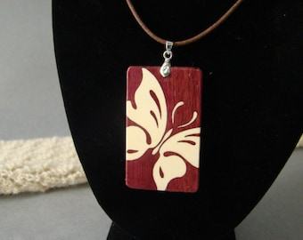 Butterfly pendent of purpleheart and Holly