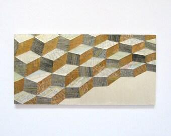 "Map Reconfigured No1 - Geometric Landscape Painting - Map Paper Collage - 9x4.5"" Wood Panel Mixed Media Art Metallic Wall Decor Travel Decor"