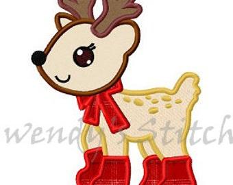 Cute Christmas reindeer applique machine embroidery design