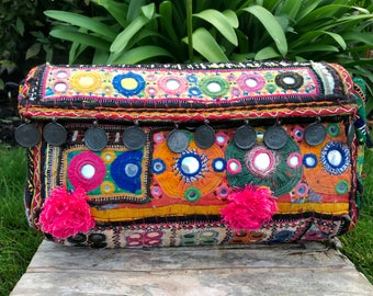 Afghani bag, bohemian bag, Gujarati bag, Indian bag, Banjara bag, ethnic boho clutch, shoulder bag, crossbody bag, hippie bag