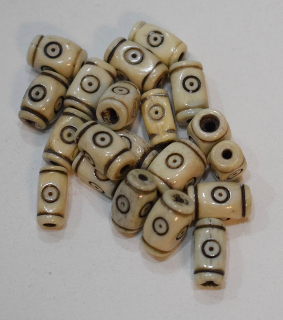 Beads Indonesian Bone Carved Tubes Vintage Beads 12mm
