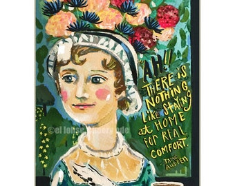 Jane Austen • art print • giclee • quote • book • literature • whimsical • flowers • floral • author portrait •writer • home •office • gift