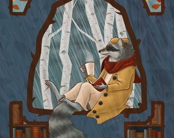 Cozy Raccoon Reading a Book and Drinking Coffee or Tea During Autumn Rainfall Matted Print