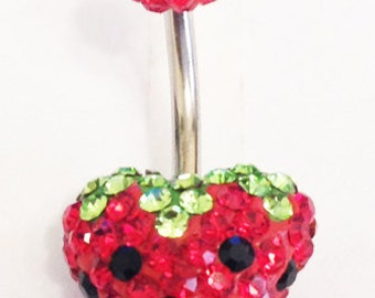 Diamante Strawberry Belly Bar Multi Coloured Navel Bar Navel Ring Disco ball