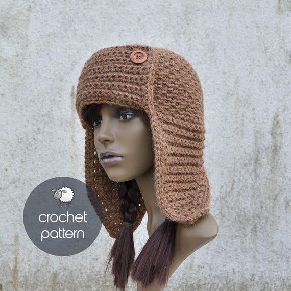 Crochet Pattern Quebec Trapper Hat PDF file Sizes: S M