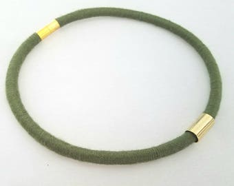 Moss green choker, textile choker with magnetic clasp and gold plated tube, fall color