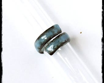 Large ring rustic in enamels on copper -Bague finger or thumb - custom jewelry creator-creation - Ring