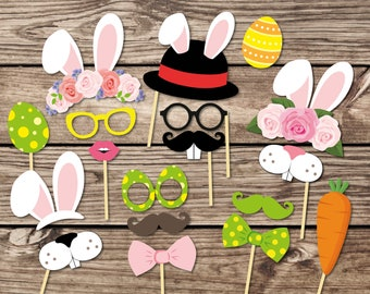 Easter Photo Booth Props Printable Easter Party Printables Easter Photo props party printables. Easter mask. Easter birthday. Bunny masks