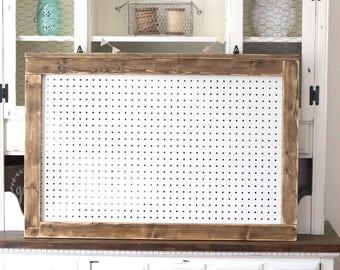 Farmhouse Pegboard | Rustic Pegboard |Nursery Pegboard | Nursery Display | Craft Room Display | Craft Room Organization | Framed Pegboard