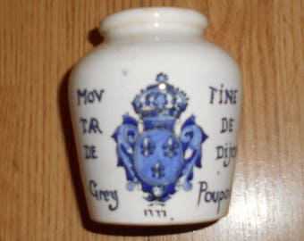 Vintage  French mustard  Jar,   By  Digoin Sarreguemines DV, for  Grey Poupon,