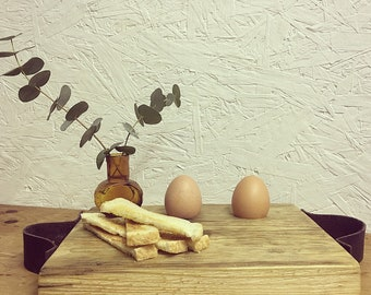 Boiled egg and soldiers reclaimed food board