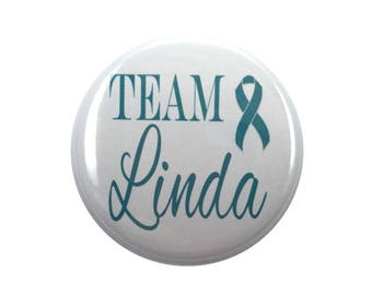 Ovarian cancer awareness ribbon team teal ribbon 2 1/4 inch button