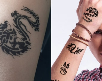 Supperb® Temporary Tattoos - 10 small  Black small Dragons