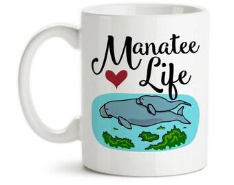 Coffee Mug, Manatee Life, Sea Cow, Manatee Art, Manatee Mom and Baby, I Love Manatees, Manatee Spirit Animal, Gift Idea, Large Coffee Cup