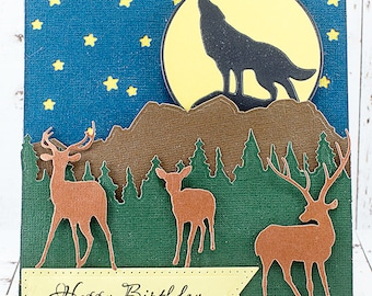 Masculine Wolf Moon and Deer Scene Birthday Card