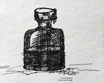 Ink bottle Original artwork Ink drawing