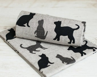 Cat tea towels - Linen towels with black gray cats - Linen tea towels set of 2 - Cat kitchen towels - Towels with cats - new pet gift
