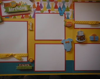 Happy First 1st Birthday Premade  12x12 Scrapbook Pages for your FAMILY Boy Girl and Album