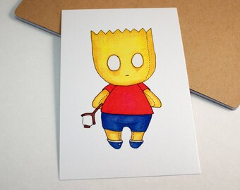 Mini Bart Simpson - 4x6 Print [ Simpsons / Fan Art / Chibi ]