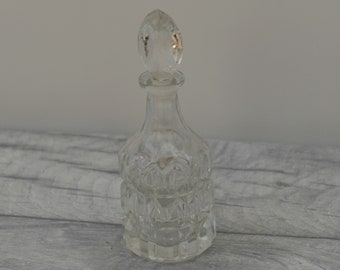 Vintage Glass Perfume Bottle, Small bottle with stopper