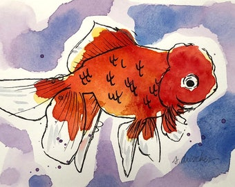 "Original Watercolor Painting of Fancy Goldfish ""Red Lion"""