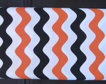 Riley Blake - ORANGE/BLACK Wave Fabric - Great Halloween Fabric