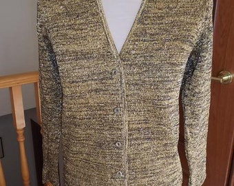 Vintage St Michael Gold Lame Cardigan - 1960 1970s