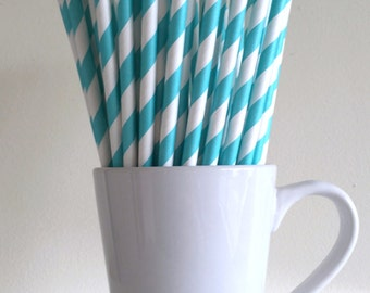 Robins Egg Blue Paper Straws Aqua Turquoise Blue Striped Party Supplies Party Decor Bar Cart Accessories Cake Pop Sticks Graduation