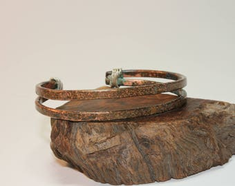 Copper Cuff / Copper Bracelet / Double Band / Sterling Silver Wrap / 537
