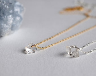Herkimer diamond necklace, April birthstone, Herkimer diamond quartz crystal, bridal/bridesmaid gift, Harmony stone