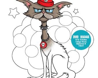 Cat digital stamp kitty, alley cat, rebel cat, digistamp digital download